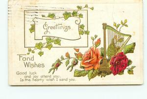 Postcard Greeting Roses Harp Ivy 1911 Embossed    # 2788A