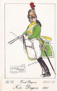 French Dragoon 1810 Soldier Napoleonic War Uniform Military Postcard