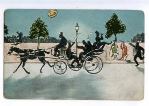 235066 ART NOUVEAU Drunk Men in Carriage Vintage SILHOUETTE PC