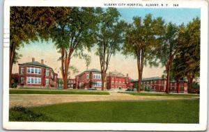 Albany, New York Postcard ALBANY CITY HOSPITAL Street View w/ 1927 Cancel