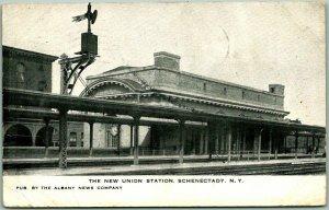 1909 Schenectady, New York Postcard THE NEW UNION STATION Train Platform View