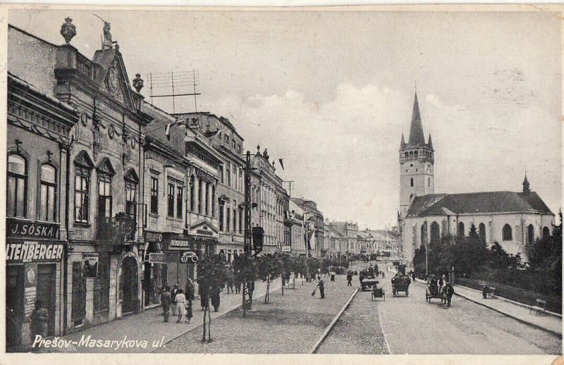 Slovacia Slovakia Prešov Presov Masarykova street view stores shops church