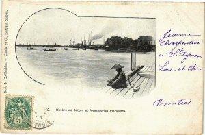 VIETNAM INDOCHINE - Riviére de Saigon et Messageries maritimes (190182)