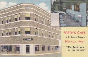 Interior Vieth's Cafe Nevada Missouri Curteich 1953