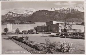 Switzerland Luzern Kunst & Kongresshaus mit Alpen 1947 Photo
