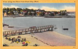 Onset Bay Massachusetts view of beach shore pier linen antique pc Z42627