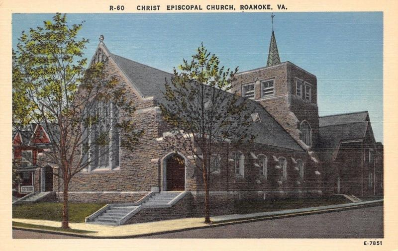Roanoke Virginia~Christ Episcopal Church~1940 Postcard