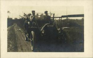 Group of People Driving in Old Car of Unknown Brand (1910s) RPPC Postcard