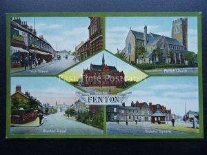 Staffordshire Stoke FENTON 5 Image Multiview - Old Postcard by W Shaw of Burslem