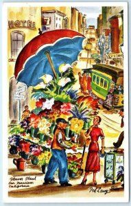 TED LEWY Artist Signed  SAN FRANCISCO, CA ~ Flower Stand, Cable Car   Postcard