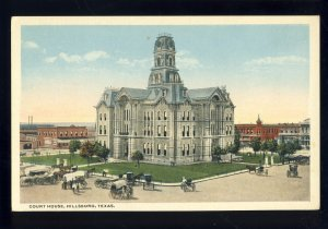 Hillsboro, Texas/TX Postcard, Court House, horse & Buggy, Covered Wagons
