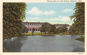 Stillwater Oklahoma~A & M College~Murray Hall~1940 Postcard