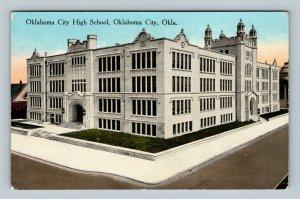 Oklahoma City OK, High School Building, Grounds Tower Entrance, Vintage Postcard