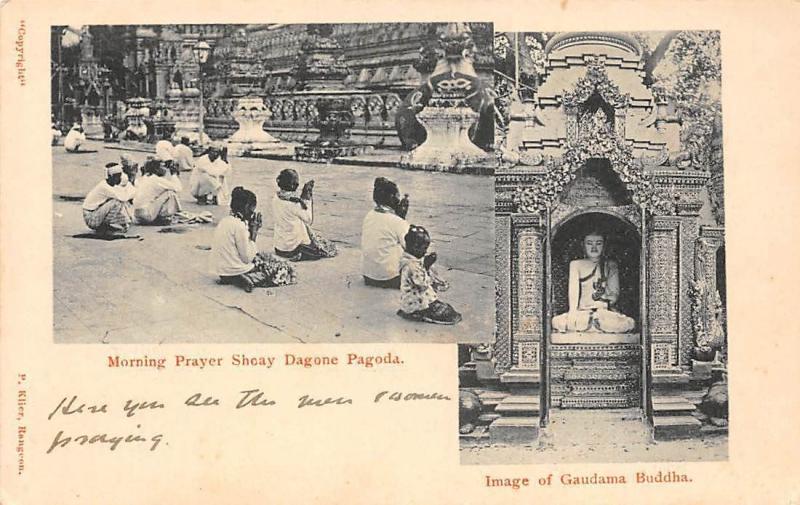 Myanmar Burma Morning Prayer Shwedagon Pagoda, Image of Gaudama