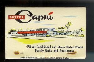 CAPRI MOTEL RESTAURANT 1950's Full Unstruck Matchbook