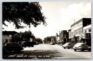 Casey IL~Main Street~Lyric Theatre~Pontiac Car Dealer~Crown Gas Pump~1948 RPPC