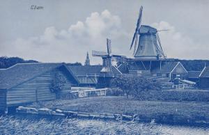 Edam Volendam North Holland Real Photo Unique Blue Postcard