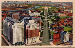 Pennsylvania Philadelphia Parkway from City Hall Showing Art Museum Curteich
