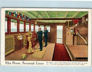 Postcard Savannah Liners Pilot House 1913 Captain Ships Wheel AD16