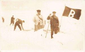 Canada seals hunting a pen of seals pelt Real Photo Postcard