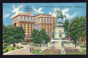 Virginia  RICHMOND Washington Monument Hotel Richmond, Grace St. at 9th  LINEN