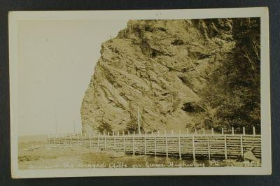 Rugged Cliffs on Gaspe Highway Quebec RPPC circa 1930s