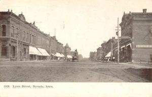 Nevada Iowa Lynn Street Scene Historic Bldgs Antique Postcard K54685