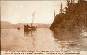 Steamer on Lake Tahoe CA c1912 Vintage Postcard A36