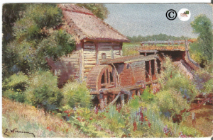 Old Mill with Water Wheel Artist Signed Pre 1907 Undivided Back Postcard Vintage