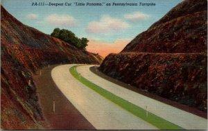 VINTAGE Postcard Deepest Cut, Little Panama on Pennsylvania Turnpike ROADS LINEN