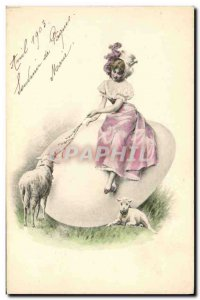 Old Postcard Fantaisie Lamb Egg