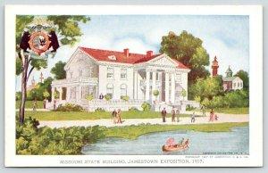 Jamestown Expo VA~Missouri State Building~Bears Seal~Artist Drawn~Canoeing~1907