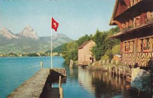 Schweiz Treib mit Brunnen and die Mythen