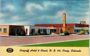 CRAIG , CO Colorado   COSGRIFF  HOTEL  c1940s  Cars  Roadside  Linen  Postcard