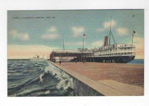Vtg 1940's Public Steamboat Landing, Erie, PA Tichnor Views Linen Postcard