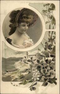 Art Nouveau - Beautiful Woman Coastal Lighthouse Scene c1905 Postcard