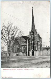 GENEVA, Illinois  IL    SWEDISH LUTHERAN CHURCH   ca 1900s UDB  Postcard