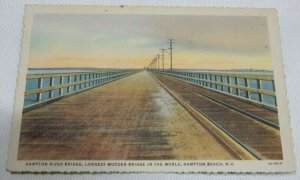 1916 Hampton River Bridge, Longest Wooden Bridge in the World Vintage Postcard