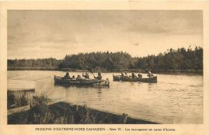 Wilderness in canoe canadian extreme north river natives sailing boats