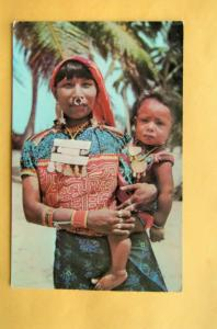 Kuna Indian Woman With Son, San Blas Islands Postcard, Central  America, Panama