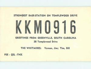 Vintage Qsl Ham Radio Card Greenville South Carolina SC t1694