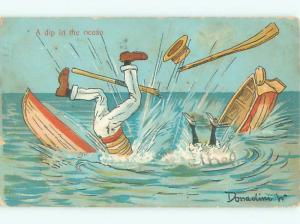 1906 Comic signed COUPLE FALL FROM OVERTURNED BOAT AB9176