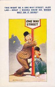 Bamforth Comics, Two drunkards in bowler hats reclined to One Way Street si...