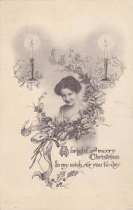 A bright and merry Christmas Is my wish for you to-day, Candles, Mistletoe su...