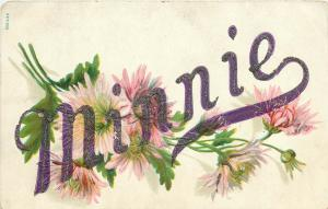Minnie Embossed Divided Back Floral Themed Postcard