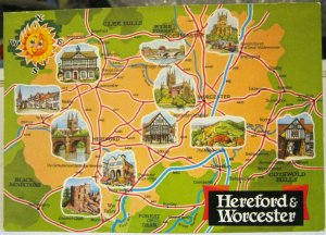 England Hereford and Worcester Map Postcard - unposted