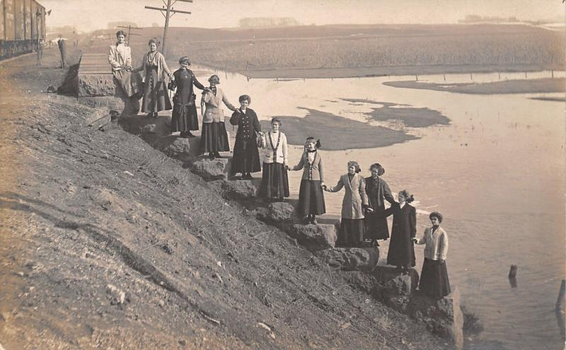 Rake Iowa Postmark~Clara~11 Victorian Ladies on Water Bank Steps