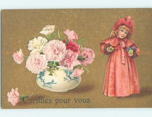 Pre-Linen foreign TWO FRENCH GIRL HOLDING COLDER EASTER EGGS HL4950