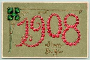 New Year~Large Number Pink Rosettes 1908~Shamrock~Art Nouveau Gold Leaf Embossed