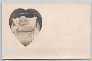 Real Photo Postcard~Bundled Up Baby~Victorian Wicker Buggy~Heart Inset~1905 RPPC